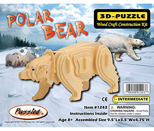 Wooden Polar Bear - Puzzled Item #DPUZ1243 Polar Bear Affordable Gift for Your Little One! 3D Wooden Puzzle