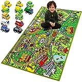 JOYIN Carpet Playmat w/ 12 Cars Pull-Back Vehicle Set for Kids Age 3+, Jumbo Play Room Rug, City Pretend Play