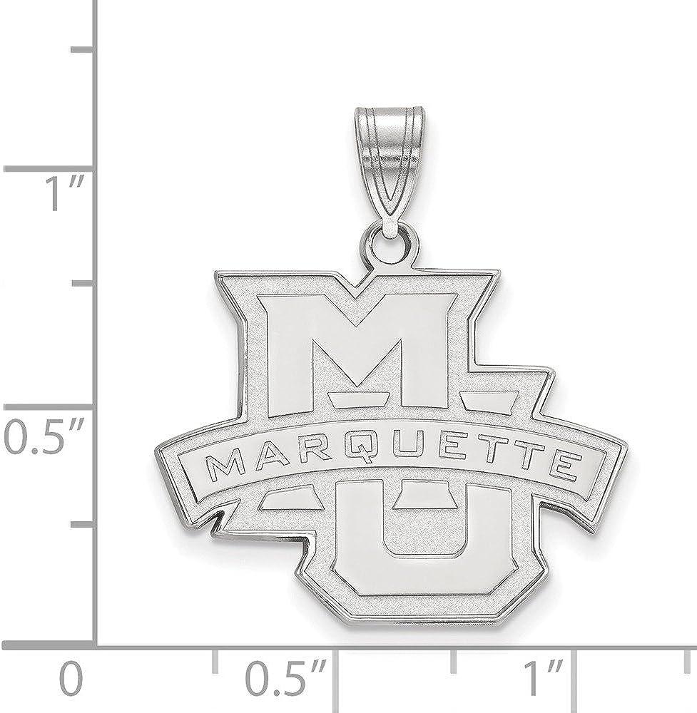 14k White Gold Marquette University Golden Eagles School Name Logo Pendant
