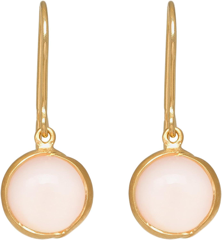 Pernille Corydon Pendientes Aura Mujer Oro | Pendientes en forma de flor con rosa chalzedon | Aura of Spring Serie | oído gancho plata chapado en oro–e658g