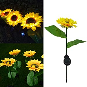 Outdoor Solar Sunflower Lights, LED Waterproof Solar Landscape Lighting,Solar Garden Lights,Solar Powered Lawn Lamps Artificial Flower Stake Lights for Patio Yard Terrace Pathway Decor