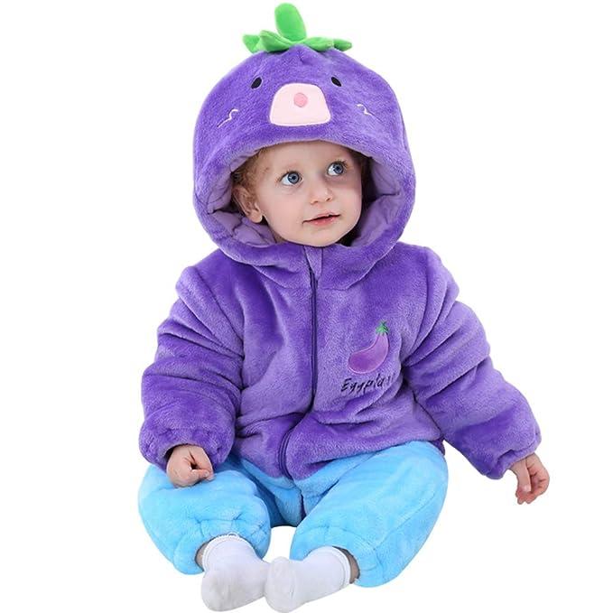 LSERVER-Pijama Entero para Bebés Recién Nacidos Pelele para Dormir Grueso y Caliente de Estilo