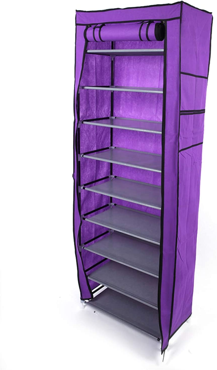Aike Home 10 Tiers Shoe Rack with Dustproof Cover Closet Shoe Storage Cabinet Organizer 30-Pairs Portable Shoe Rack with Non-woven Fabric Cover (Purple)