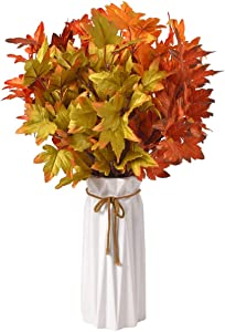 RED SECRET R 8 Pcs Mixed Corlor Artificial Maple Leaves Branches Fake Fall Bushes Maple Leaf Stems Shrubs Autumn Home Decor Outdoor Party Halloween Thanksgiving Christmas Table Centerpieces