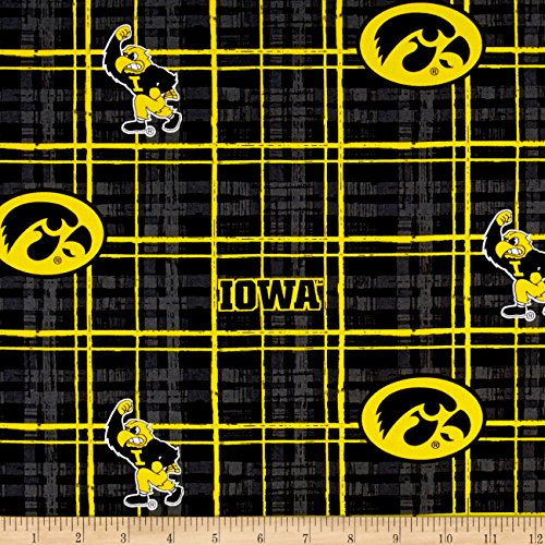 Fabric Iowa Hawkeyes (Sykel Enterprises Collegiate Cotton Broadcloth University of Iowa Plaid Black Fabric by the Yard, Gold/Red/Black)