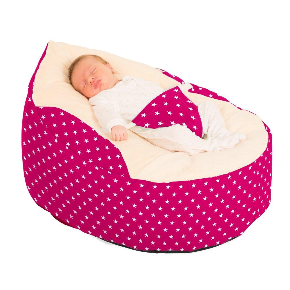 RUComfy Extra Large Classic Bean Bag Cerise Pink 85x85x85 cm Fabric