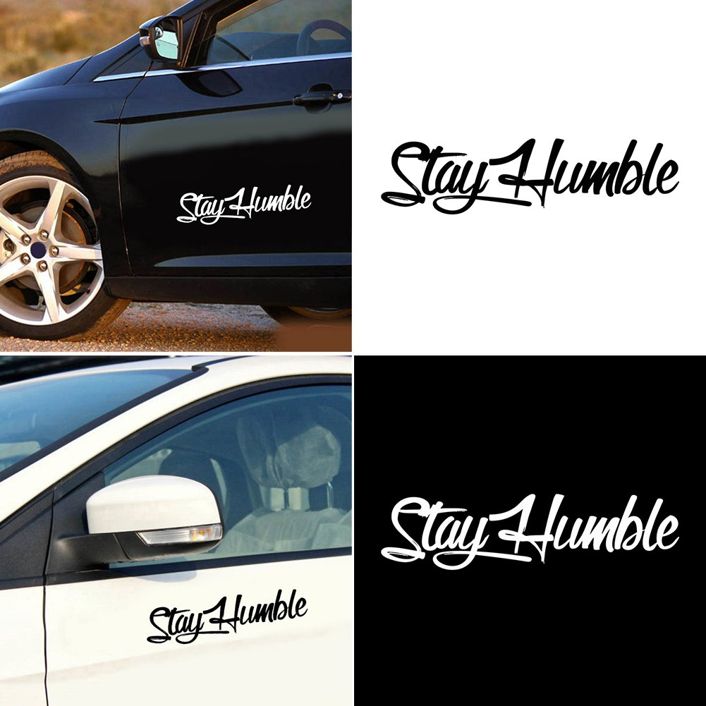 daeab950fac Amazon.com  Finance Plan Hot Sale Stay Humble Sticker Racing Car Body Window  PET Decal Simple Letter Decoration  Automotive