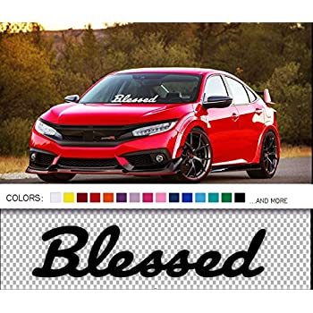 Blessed decal in dapper font windshield car sticker white 20