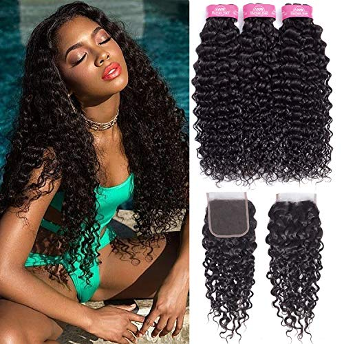 B-Fashion Water Wave Virgin Hair With Closure (22 24 26 With 20) 8A Brazilian Water Wave Human Hair Weave 3 Bundles With 4x4inch Free Part Lace Closure Wet And Wavy Human Hair Weave Bundles