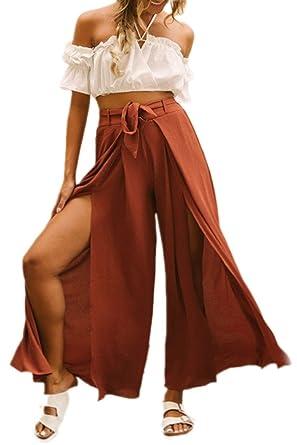 Femme Pantalons Large Elégante Taille Haute Fourcher Pantalon De Loisirs  Eté Pantalons pour Femme Large Hippie Fashion Pantalons Palazzo Spécial  Style ... fb376004ce88