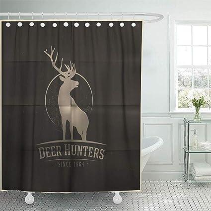 Starowas Shower Curtain 72 X Inches Hunt Deer Buck On Full Moon Badge Hunter Emblem
