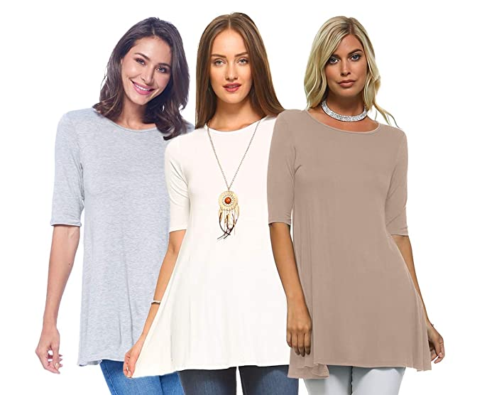 b1dd245950a Isaac Liev Women's 3/4 Sleeve Tunic Top – Pack of 3 Swing Flowy Long Shirts