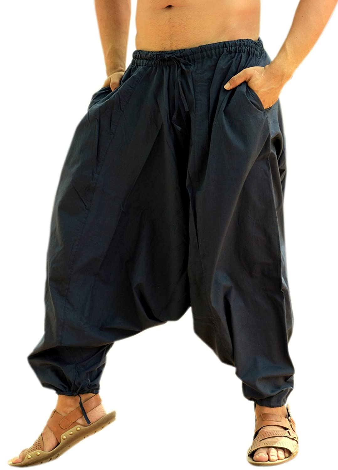 Sarjana Handicrafts Men's Cotton Harem Yoga Baggy Genie Boho Pants Navy Blue)