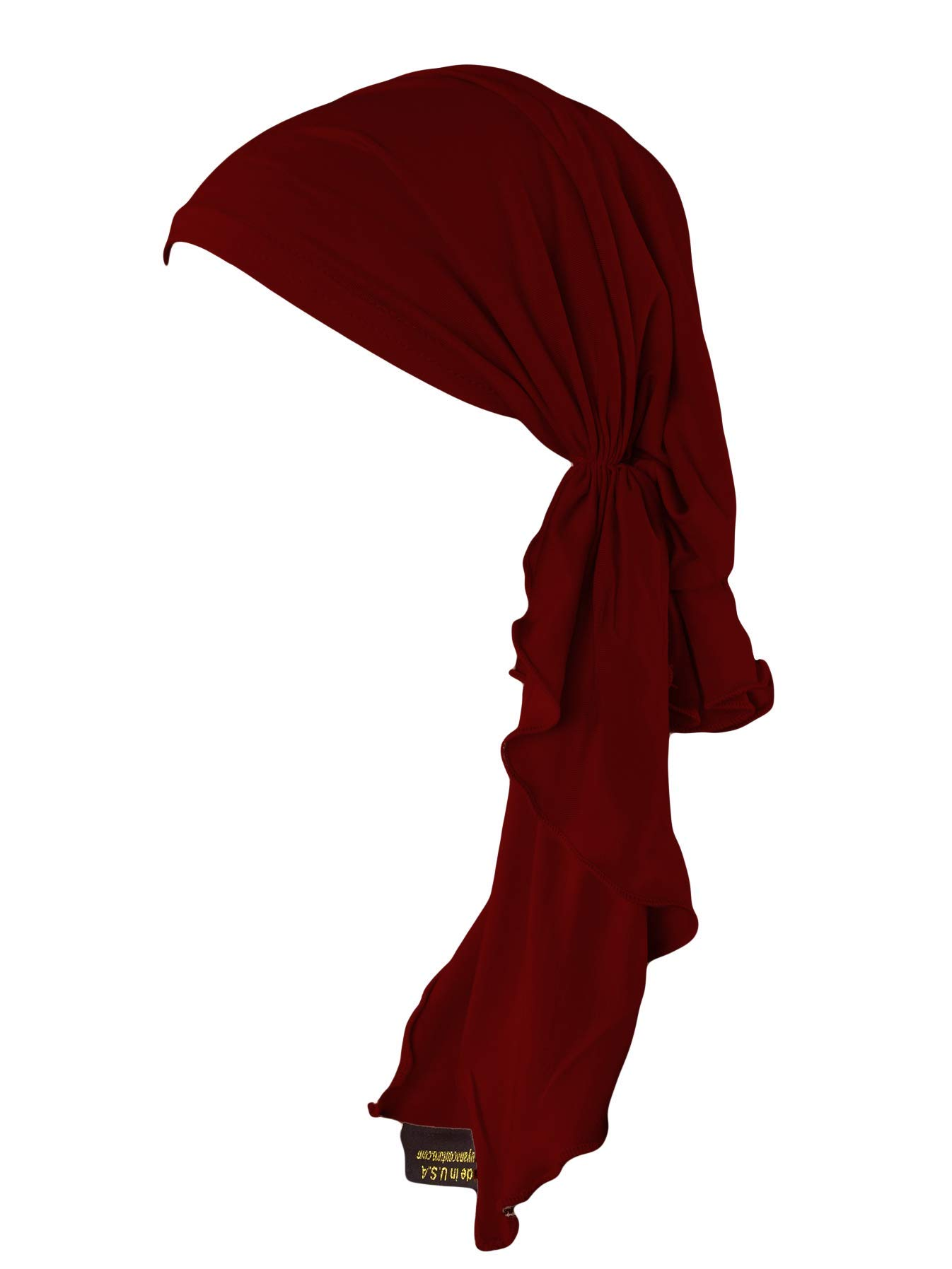 Luxurious Bamboo Pre Tied Fitted Chemo Cancer   Tichel   Head Scarf   Bandana (Burgundy)