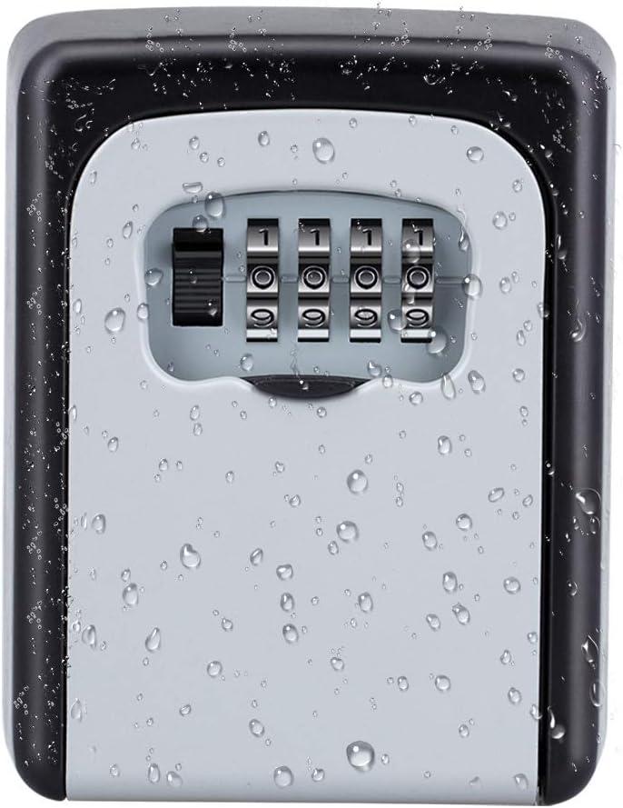 ZHEGE Key Lock Box, Combination Lock Box with Code for House Spare Keys, Home, School, Office Wall Safe, 5 Key Capacity (Silver)