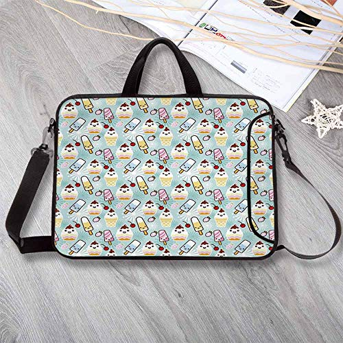 Ice Cream Decor Stylish Neoprene Laptop Bag,Cute Cupcakes with Face Figures Cone Bars Creative Funny Caricature Decorative Laptop Bag for Business Casual or School,14.6