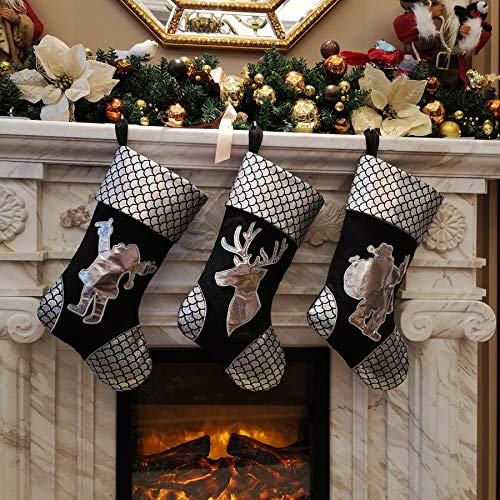 (WEWILL 18 '' Silver Traditional Classic Christmas Stockings Set of 3, Classic Decoration for Home Santa, Snowman, Reindeer)