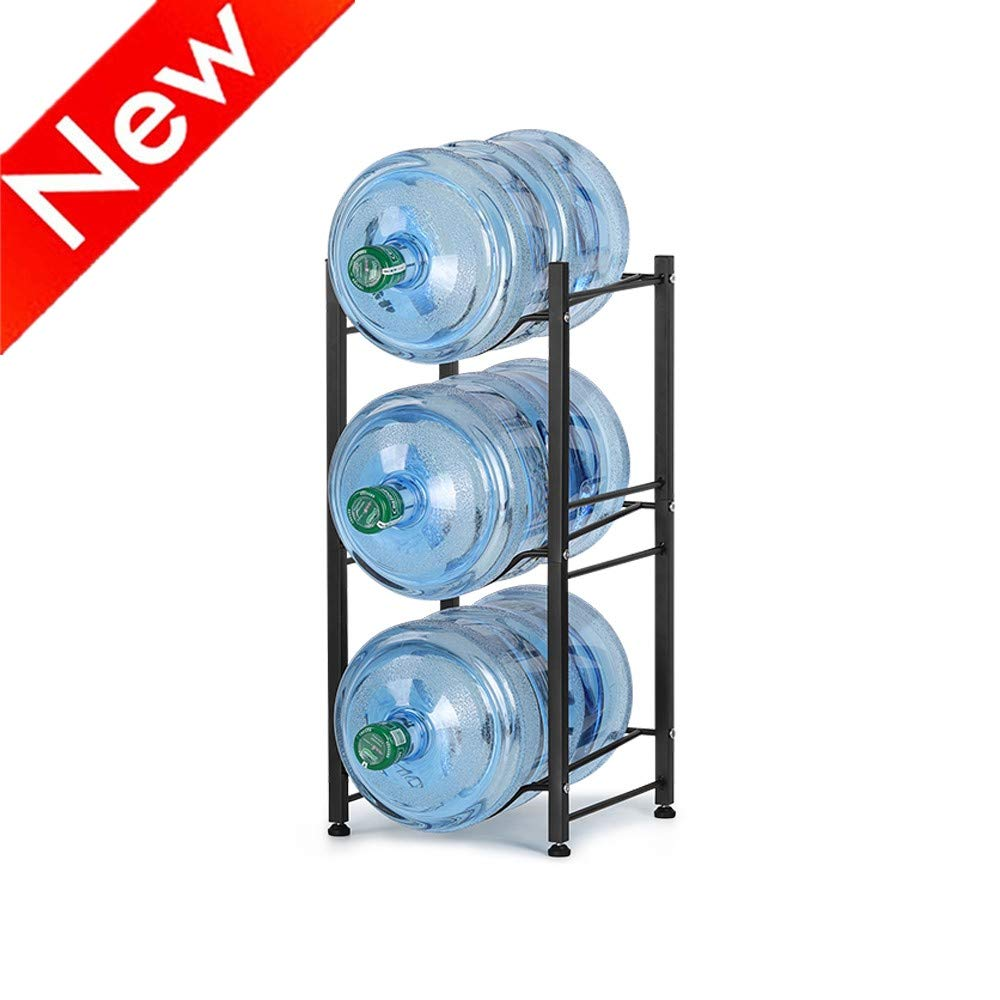 Nandae Water Cooler Jug Rack, 3-Tier Heavy Duty Water Bottle Holder Storage Rack for 5 Gallon Water Dispenser, Save Space (Black)