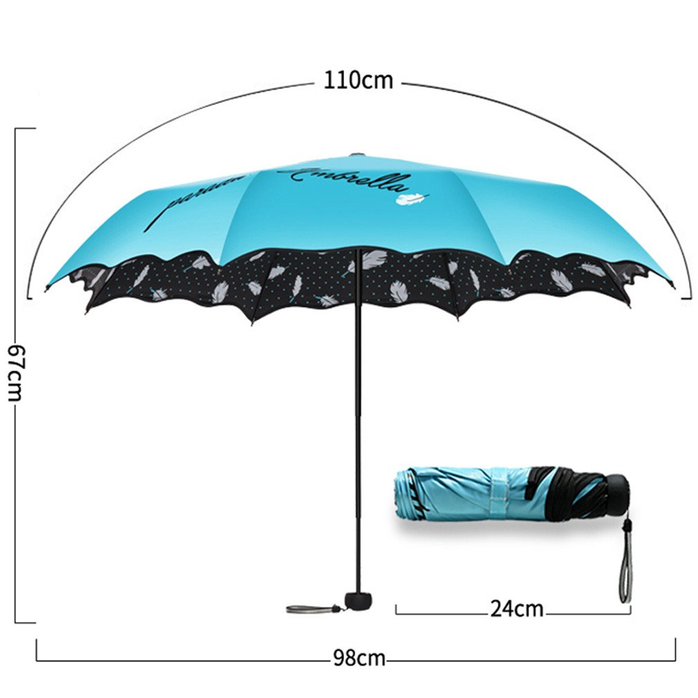 Guoke Sunscreen Uv Protection Umbrellas Vinyl Two Fold Umbrella With A Fine, Pink by Guoke (Image #3)