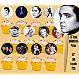 Elvis Presley 12 Images Cupcake Picks Cake Topper King of Rock and Roll - 12 pcs