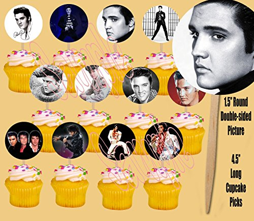 Elvis Presley 12 Images Cupcake Picks Cake Topper King of Rock and Roll - 12 pcs -