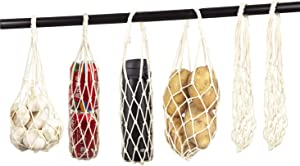 Handmade Small Cotton Net Bags Reusable Produce Bag Grocery Bags Portable/Visible Pack of 6 | Hanging Kitchen Storage for Onions, Garlics, Tomato and Potatoes|Net Bags Holder for Bottle & Pop Can