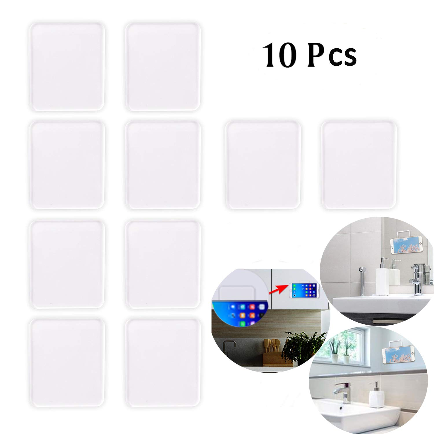 Anti Slip Pad 10 Pcs Silicone Adhesive Sticky Gel Pads-Syshan Reusable Removable Transparent Adhesive Washable Seamless Traceless Double-Sided Sticker Pad by SYSHAN