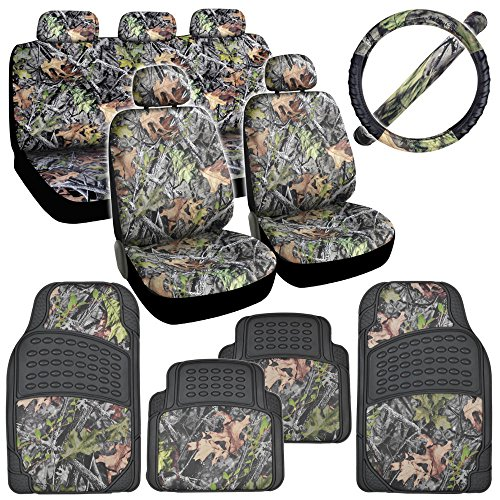 Hawg Camo Seat Covers Heavy Duty Rubber Floor Mats W Camouflage Inlay Cushion Grip Steering Wheel Cover Set