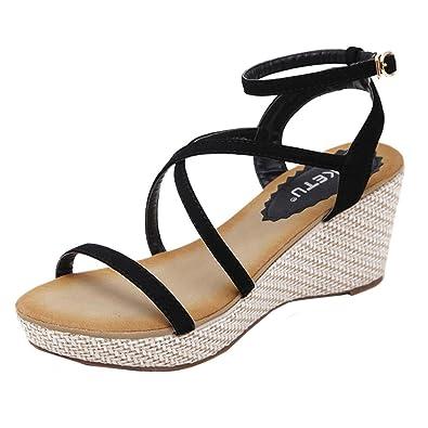 798a8753d4550 Bohemia Cross Strap Wedge Sandals for Women Flip-Flop Ankle Buckle  Gladiator Summer Platform Sandal
