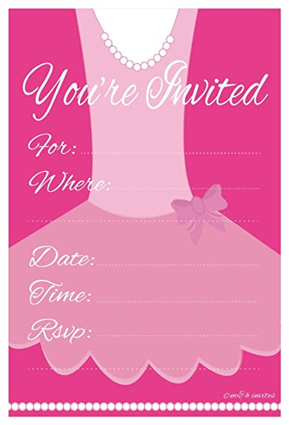 Amazon ballerina birthday party invitation fill in 20 count ballerina birthday party invitation fill in 20 count with envelopes by mh invites filmwisefo