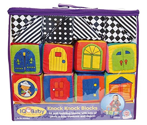 Mozlly Multipack - Small World Toys IQ Baby Knock Knock Soft Building Blocks - Soft Crinkle Fabric - Vibrant Graphics and Colors - Peek a Boo Windows and Doors - Toddler Toys (16pc Set) (Pack of 3)