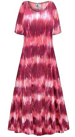 1da097fcb49 Pink Abstract Slinky Plus Size Supersize Short Sleeve A-Line Maxi Dress LGP