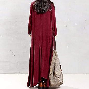 NPRADLA 2018 Kobiety Plus rozmiar czysty kolor torba bawełna i lniana luźna długa sukienka: Odzież