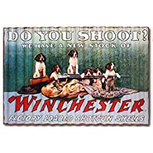 "Rockin' W Brand Winchester W1032 ""Do You Shoot?"" Corrugated Metal Sign"