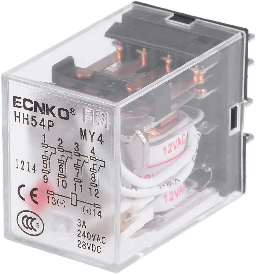 enchufe sourcing map hh54p ac 12v bobina dpdt 14 pines luz roja rel/é de potencia electromagn/ética
