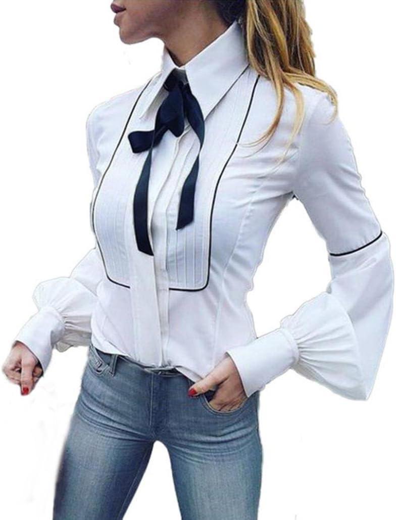 fheaven mujeres largo manga farol blanco Basic botones pajarita cuello camiseta blusa Top: Amazon.es: Juguetes y juegos