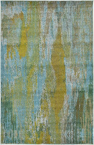 Unique Loom Jardin Collection Vibrant Abstract Turquoise Area Rug (5' 0 x 8' 0) ()