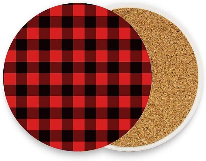 Red Black Buffalo Plaid Coasters Neoprene