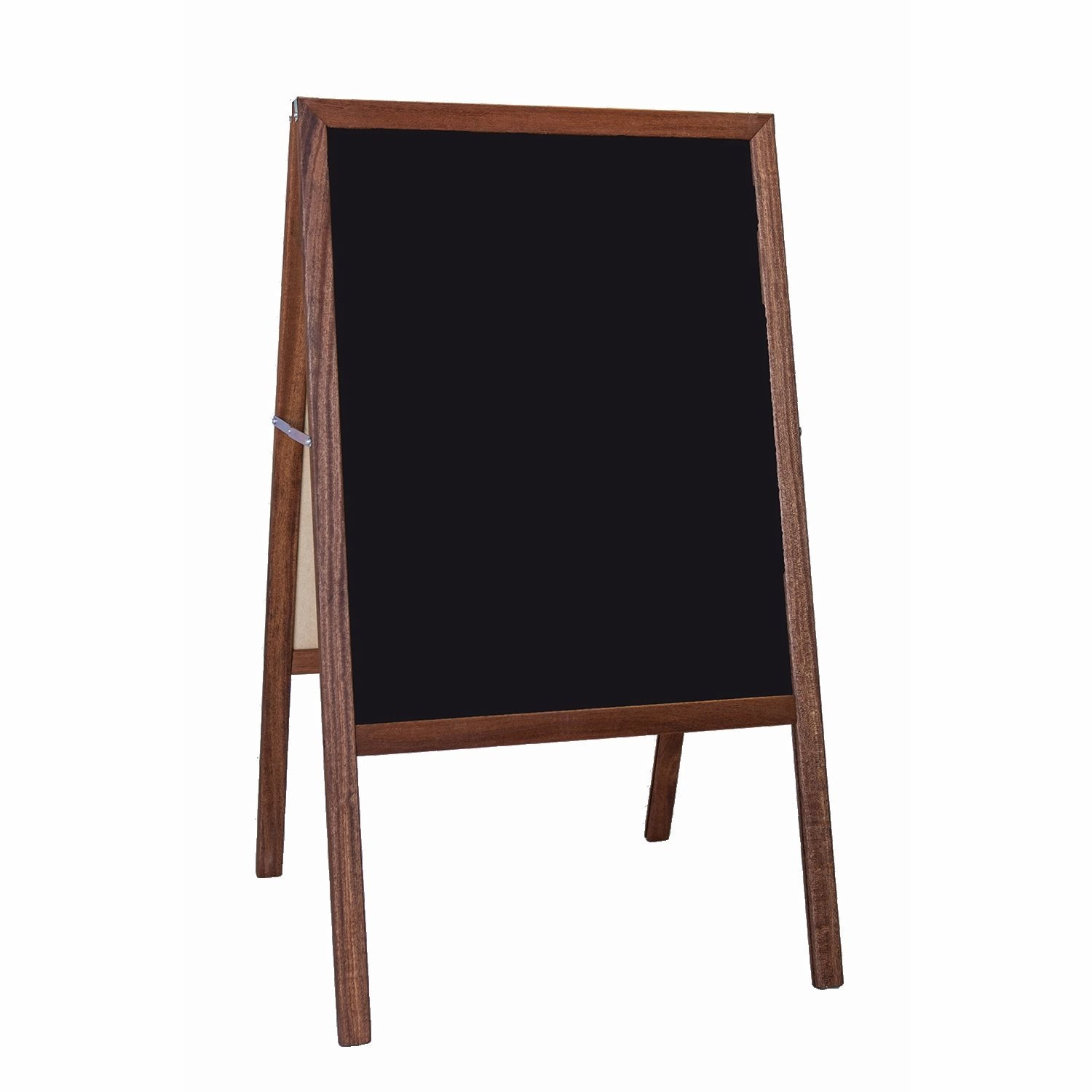 Two-sided Folding Marquee Natural Wood Easel - Black Dry Erase Boards on Both Sides! (H42 x W24ins)