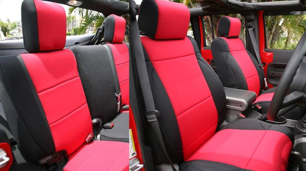 GEARFLAG Neoprene Seat Cover Custom fits Jeep Wrangler JK 2007-17 Unlimited 4 Door Full Set (Front + Rear Seats) (Red/Black) by GEARFLAG