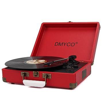 Tocadiscos Retro, DMYCO Tocadiscos Estéreo 3 33/45/78 Velocidades con Altavoces Incorporados Salida USB PC Digitalizador Vinilos, Codificador a MP3, ...