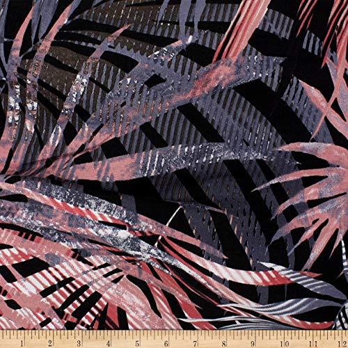 Telio Dakota Rayon Jersey Knit Palm Leaves Fabric, Black/Grey, Fabric By The Yard