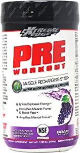 Bluebonnet Nutrition Extreme Edge Pre workout, Muscle Recharging Formula*, Increases Nitric Oxide (NO) levels*, Soy-Free, Dairy-Free, Grape, 1.32 LB, 60 Servings