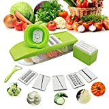 #10: Mandoline Vegetable Slicer Ajustable - HAIOOU Vegetable Grater Slicer Chopper Dicer Cutter with 5 Thickness Stainless Steel Blades and Food Container and Safety Hand Holder for Cucumber, Onion, Cheese