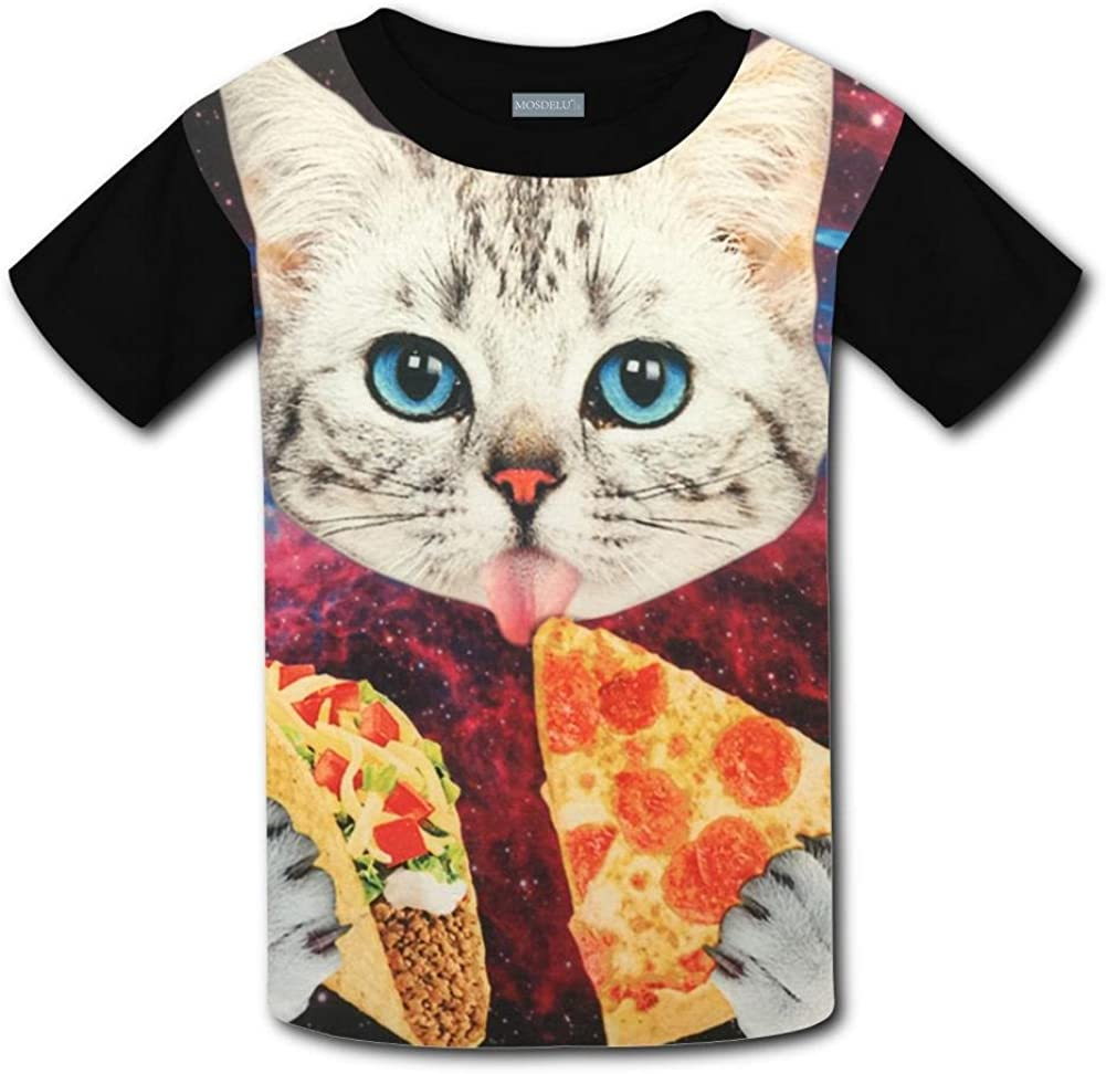Unisex Youth 3D Space cat Pizza T Shirts Short Sleeve Kids Tee