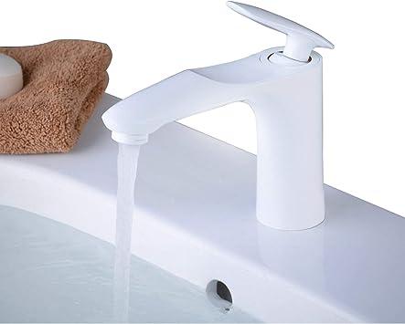 Weiß Chrom Waschtisch Waschbecken armatur Wasser hahn Einhebel mischer batterie