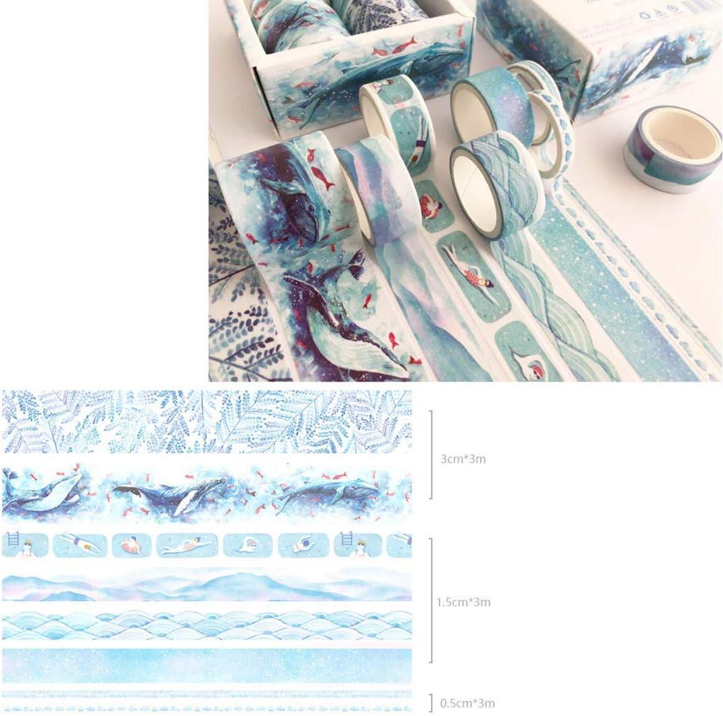 MOMU 8Pcs Green Leaves Cactus Journal Washi Tape Adhesive Tape DIY Scrapbooking Sticker Label Masking Tapes