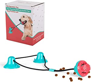 Dog Chew Suction Cup Toys Interactive Pet Aggressive Puzzle Chewers Rope ,Toothbrush Toys Ball with Teeth Cleaning and Food Dispensing Features, Dog Interactive Rope Toys for Small Large Dogs