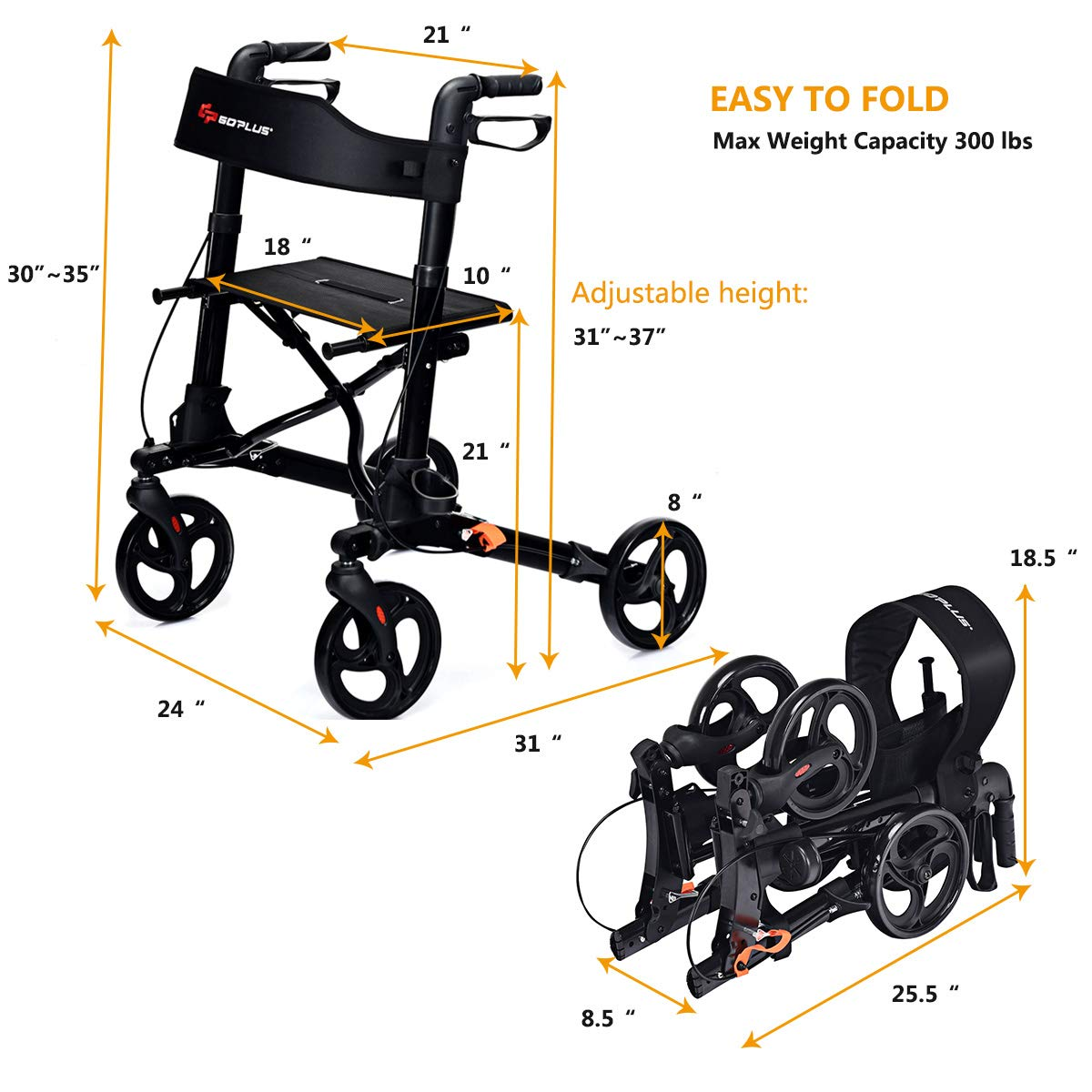 Amazon.com: Goplus - Andador plegable con ruedas, con ...