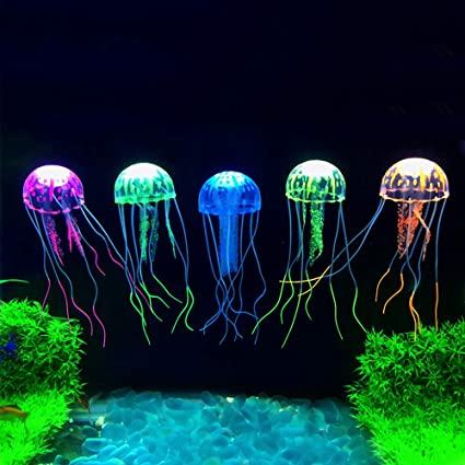 Lyanther 5pcs Que Brilla intensamente Medusas Artificiales del Efecto para el Ornamento del Acuario del Acuario